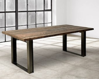 Wood Dining Table, I-Beam Furniture, Industrial Wood Dining Table, Kitchen Table, Conference Table, Reclaimed Wood Table, I Beam Table