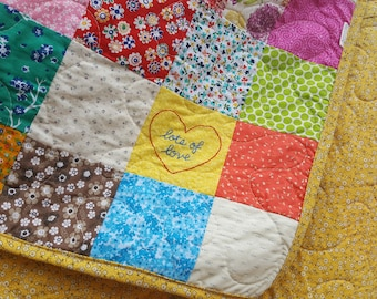 READY TO SHIP Lap Quilt, 54X81 Classic Americana, cotton patchwork quilt, cotton blanket, retro, scrappy, vintage vibe, graduation gift