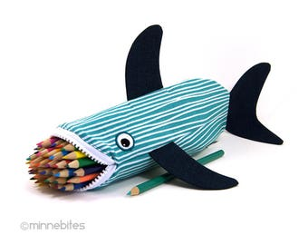 Nautical Desk Accessory - Pencil Case - Adult Coloring Pouch - Shark Scuba Gift - Purse Organizer - Planner Zipper Pouch - Ready to Ship