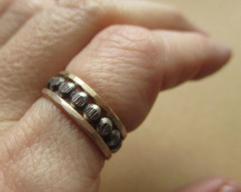 Dappled Grey. Slender Gold. Stacking Set. Sterling Silver and Gold Filled Rings.