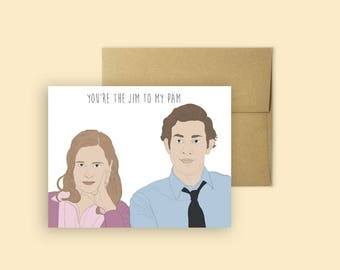The Office Jim and Pam Valentine's Day Card -- Anniversary Card, Love Cards, Valentine's Day, The Office TV Show, Jim and Pam