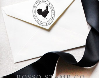 Custom Stamp - Rooster Stamp - Return Address Stamp - French Country Address Stamp - Personalized Address Stamp
