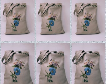 Morning Glory HAND EMBROIDERY Tote Bag