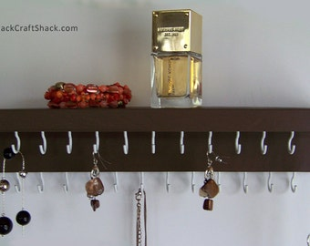 Necklace Hanger - Jewelry Storage for your Necklaces / Bracelets / Earrings; Brown Jewelry Display Shelf; Other colors available too!