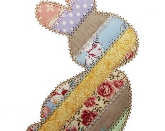 Spring Easter Shabby Patchwork Rabbit Digital Embroidery Design Machine Applique