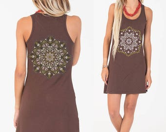 Yoga Mandala Dress, Festival Dress, Glow In The Dark, Festival Clothing, Psychedelic Dress, Rave Outfit, Hippie Dress, Brown, Mustard