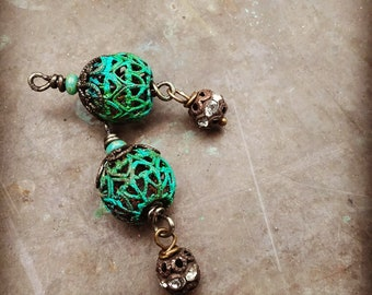 Vintage Rustic Style aged verdigris wrapped filigree drop One 1