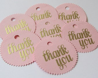 25 pink and gold favor tags, baby shower thank you tags,circle tags, bridal pink and gold  circle  thank you tags, gold embossed pink tags