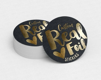 Custom Foil Stickers  Custom Logo Stickers  Personalized Stickers  Product Labels  Return Address Labels  Gold Metallic Stickers - YOUR LOGO