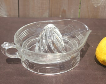 Vintage Glass Juicer, clear depression glass, 1930s Hazel Atlas, Criss Cross pattern