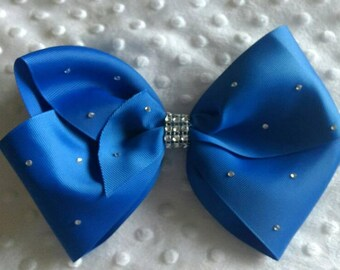 "Large 8"" Royal Blue Boutique Hair Bow with Rhinestones like JoJo Siwa Bows Signature Keeper Dance Moms"