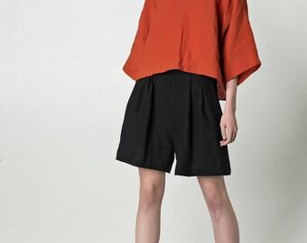 NEW Orange linen top / kimono style top for women / loose linen shirt / v-neck top / long sleeve blouse / bright summer top