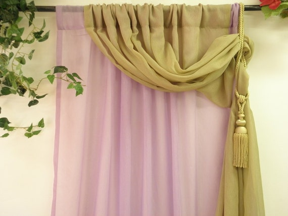 Lilac and olive green double layer semi sheer curtain panel