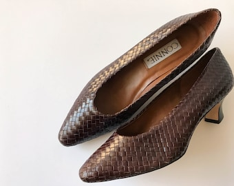 Vintage Woven Leather Heels Size 8, Woven Leather Shoes, Womens Leather Heels, Woven Leather, Womens Heels Size 8, Womens Leather Shoes