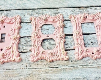 Blushing Pink Metal Wall Decor-Light Switch Cover-In White Shabby Chic-Single Switch Cover-Pink  Roses-Ornate-Distressed-Roses