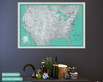 Framed US map / Push pin travel map / United States travel map large / Anniversary gift / Travel inspiration board / Personalized travel map