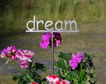 Metal Garden Poetry Word Sign Your choice 53 to choose from  - 12 Inches Tall (mini size)