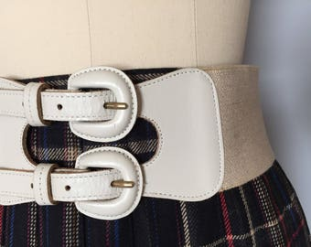 double buckle leather cinch belt   bisque white leather waist belt   elastic cinch belt