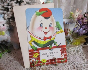 Vintage Retro Mid Century Greeting Card-Humpty Dumpty-Unused-Children's