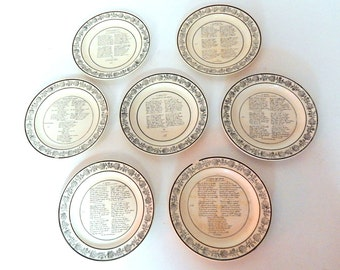 7 French Antique Drinking Song Plates  c. 1824 to 1835