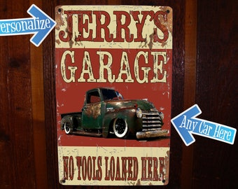 Custom Garage Sign with FREE Personalization! Vintage Tin Sign