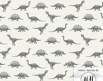 Dinosaur Days Fabric By The Yard -  Cream Gray Dino Baby Nursery Boys Quilting Print in Yard & Fat Quarter