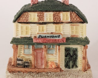 New Vintage 1994 Old Stock Hand Painted Swanson's Feed & Grain House Figurine (The Americana Collection) Liberty Falls, Colorado.