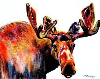 Moose Wall Art, moose wall decor, moose art, wildlife wall art, wildlife painting, wildlife watercolor, moose decor, moose watercolor, moose