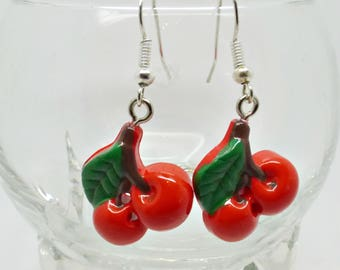 Red Cherry Earrings, Rockabilly Earrings, Fruit Earrings, Cherry Jewellery, Fruity Earrings, Summer Earrings, Kitsch Earrings, Gift For Her