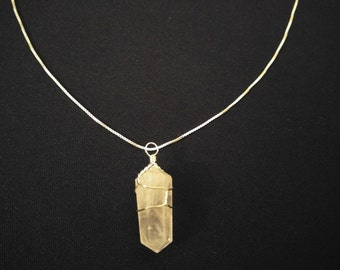"ROSE QUARTZ Crystal Point Pendant + Sterling Silver Chain 24"" [SOOTHE Heartache]"