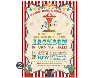 Carousel Birthday Invitation, Circus Theme Invites Merry Go Round Carnival Magic Horses Elephant, DiY or Printed with FREE SHIPPING 362