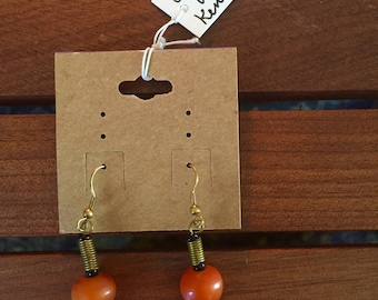 Kenyan amber and brass earrings