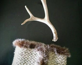Hand knit cozy cowl. Trimmed with rabbit fur