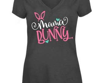 Free Shipping!! Mama Bunny Vneck Tshirt / Mom Shirts / Mama Shirts/ Easter Shirts