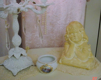Vintage French Bust Girl Shabby Cottage Chic