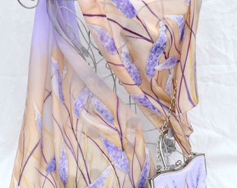 Hand painted silk scarf  & matching handbag - Lavender field- one of a kind wearable piece of art