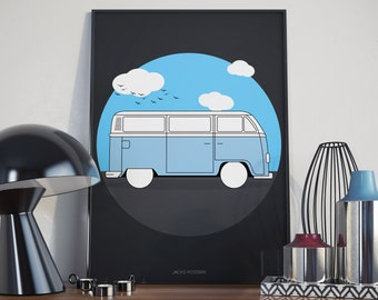 Camper Van Poster - A3 - Custom colours available.