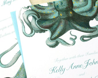 Octopus Wedding Invitation sets, Aquarium Wedding Invitations,  - each set includes octopus invite, RSVP, envelopes and free website card