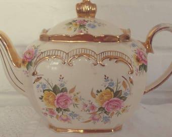 Rare and Stunning Vintage Sadler English Bone China Pink Floral Cube Tea Pot with gold gilding, afternoon tea, vintage tea s