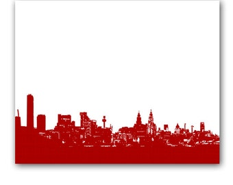 Liverpool Skyline in red Fine Art Print Modern Decor Wall Art City Home Decor