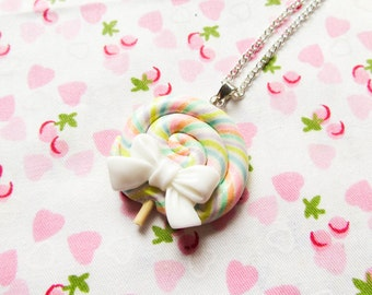 Pastel Rainbow Lollipop Necklace, Candy Necklace, Kawaii Necklace, Fairy Kei, Cute Necklace, Swirl Lollipop