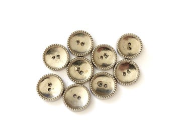 9 French Vintage Silver Metal Buttons, 17mm