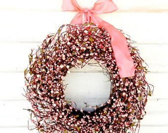 Spring Wreath-Wedding Wreath-Shabby Chic Weddings-PINK Wedding Wreath-Nursery Decor-Baby Shower Wreath-Gift for Mom-Girls Bedroom Decor-Gift