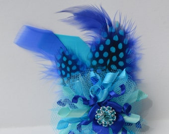 Feather Fascinator Dog Hair Bow - Bling Blue