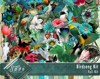 Digital Scrapbooking Kit Birdsong Birds foliage suitable for vintage and modern Scrap Pages in Blues and greens