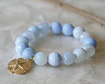Agate Bracelets - Stretch Bracelets - Stacking Bracelet Sets - Ocean Jewelry- Stackable Jewelry- Starfish - Sand Dollar- Ready to Ship -
