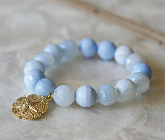 Blue Lace Agate Bracelet with Sea Life Charms