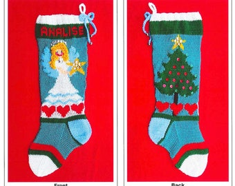 "PDF Pattern Only - ""Christmas Tree Angel"" Christmas Stocking Pattern"