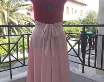Midi Tea Length Chiffon Skirt With Bow Waistband