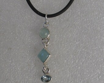 Jewelry Rescue Sterling Silver and Blue Chalcedony  and Aquamarine  Vintage Pendant 40mm